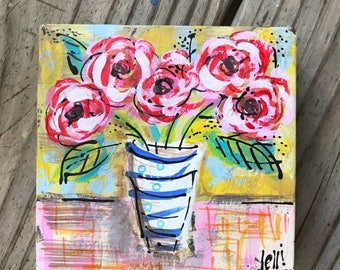 Red Peonies Abstract Painting on Thick Block Ready to Ship YelliKelli