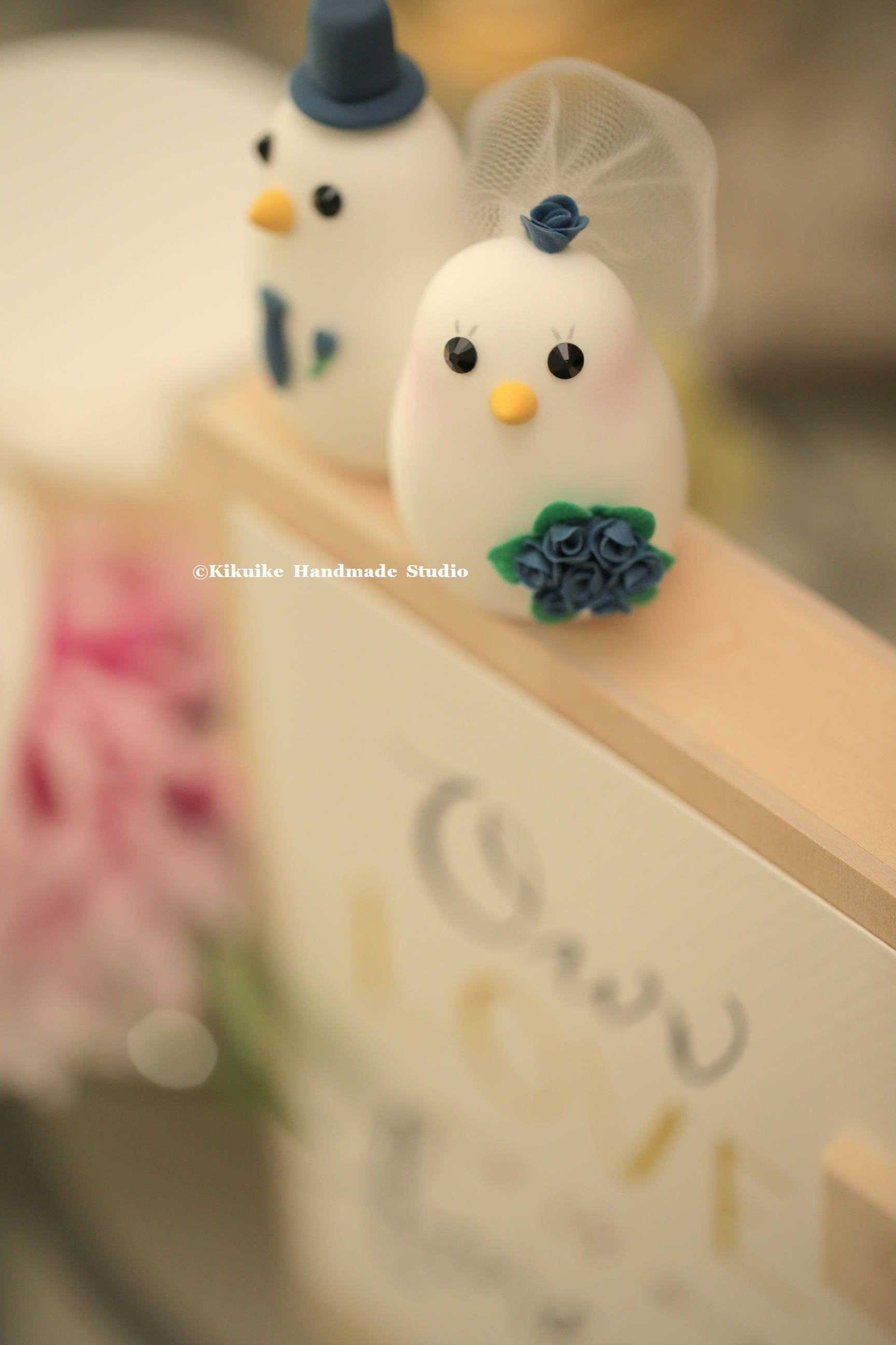 bird with flowers around the blackboard custom wedding cake topper ...