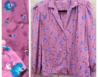 Vintage 1970s Blouse, Mauve Purple Floral Blouse, 70s Vintage Blouse, Sparkly Crystal Buttons, Pink Purple Blouse Work Office Puffed Sleeve