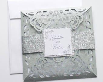 Laser Cut Wedding Invitation | Elegant Wedding Invite | Lace Wedding Invitation | White & Silver Glitter | Flourish | GOLDIE Sample