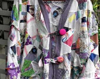 Pieces from the Past Quilt top Jacket/ Funky , Covered Buttons/ Sheerfab Handmade Funwear