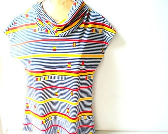 Mod vintage 80s, multicolor stripes, polyester, slouchy, short sleeve top with a cow collar. Made by Lady Manhattan.  Size M.