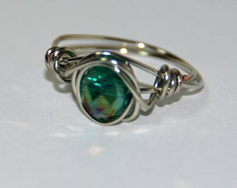 silver wire wrapped green bead