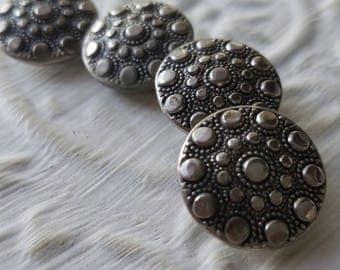 Vintage  Buttons - 4 medium matching, pressed design, silver metal (July 591 17)