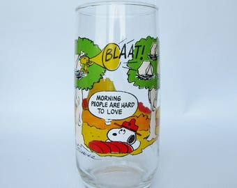Camp Snoopy Collection Glass - McDonalds Collectible Peanuts glass - Snoopy, Woodstock, Charlie Brown, Linus - Mornings are Hard to Love