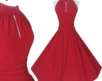 New 50s Style Retro Red Full Skirt Party Dress M Sleeveless Halter Keyhole Rockabilly Swing Cocktail Prom Dance Medium Wedding Bridesmaid