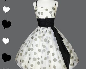 Vintage 50s Dress // White Black Polka Dot Chiffon Full Skirt Prom Dance Cocktail Party Dress XXS XSS Rockabilly Pinup Queen Gown Cupcake