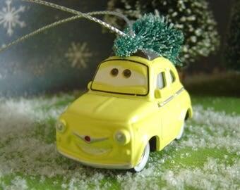 Cars Luigi Fiat car with Christmas tree ornament