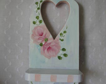 Candle Wall Holder Wood Shelf Hand Painted Pink Roses Cottage Chic Heart
