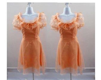2 Vintage 70s Dress Size M Peach Chiffon Bridesmaid Ruffle Lace Wedding 60s