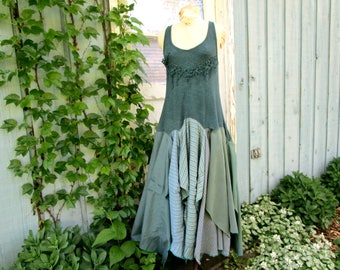 Upcycled Bohemian Drop Waist Maxi Dress// Blue Lagoon// Small Medium// Reconstructed Festival Dress// Altered Clothing// emmevielle