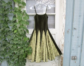 XSmall Upcycled Avocado Green Velvet Damask Swing Dress// Rockabilly// Cocktail Dress// emmevielle