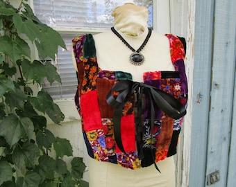Patchwork Velvet Bustier Corset Vest// XL Plus Sizes// emmevielle