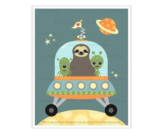 19J Children Art Print - Sloth in Spaceship Wall Art - Aliens Print - Green Alien Wall Art - Baby Boy Wall Art - Art for Boys Nursery