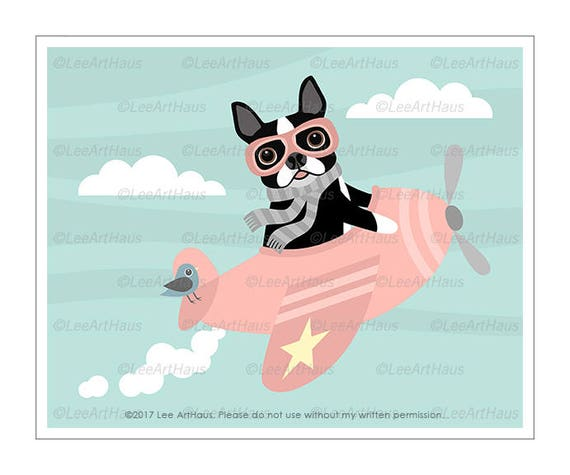 69F Dog Print - Boston Terrier Flying Pink Airplane Wall Art - Pink Nursery Wall Art - Boston Terrier Print - Pink Airplane Print - Dog Art