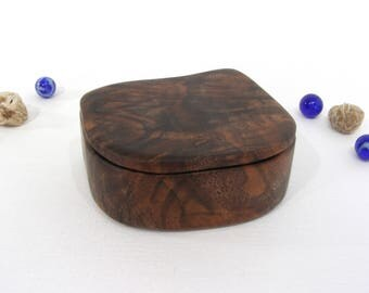 Black Walnut Wood Box, engagement ring box, proposal box, gift for groom, ring bearer box, guitar pick holder, wood anniversary
