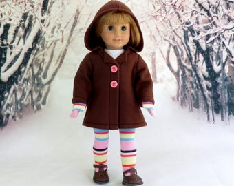 Hooded Winter Coat with Socks and Mittens, Swing Coat, Thigh High Socks, Matching Mittens