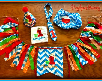Fishing Cake Smash Set, 5 Pc.,  First  Birthday Hat, Bodysuit, Bobbin Diaper Cover, Tie and High Chair Banner  by Gingham Bunny