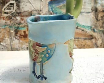 Handmade Little Bird Design Jug