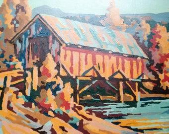 Vintage paint-by-number picture - covered bridge - autumn tones