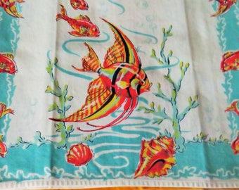 Vintage Kitchen Tea Towel Angelfish