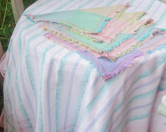 vintage candy stripe oblong tablecloth and napkins