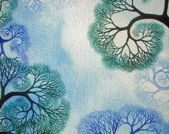 Spiral Branches Study III an original watercolor