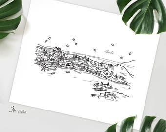 Bali, Indonesia - Asia/Pacific - Instant Download Printable Art - City Skyline Series