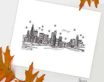 Chicago, Illinois - United States - Instant Download Printable Art - City Skyline Series