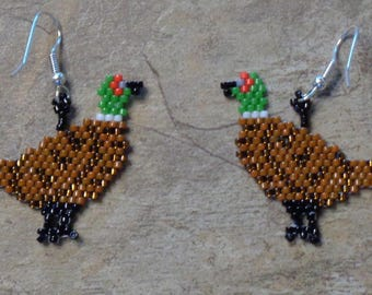 Pheasant Earrings Hand Made Seed Beaded