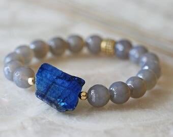 Labradorite Bracelet, Onyx Bracelet, Stacked Bracelets, Blue Bracelet, Stretch Bracelet, Statement Bracelet