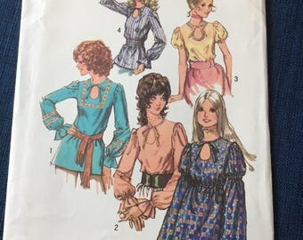 "Vintage sewing Pattern  simplicity 9513 Truly fabulous hippie era fashions! Misses ""Boho, Peasant, Wood Stock"" Style Blouses Size 14"