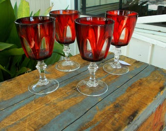 Crystal  D' Arques Durand GOTHIC ARCHES Lead  Crystal  Ruby Red Cordials / Vintage Ruby And Crystal Serving Glasses / Set Of Four