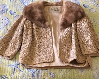 Vintage mink collared poodle ribbon jacket