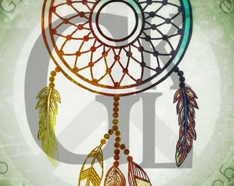 Dream Catcher Design Instant Download for Electronic Cutters Silhouette Cricut vinyl digital decal hippie boho Feathers tshirt heat transfer