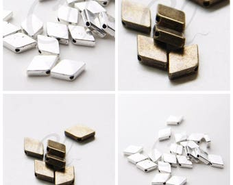 30 Pieces Oxidized Silver Tone Antique Brass Tone Base Metal Spacer -  Rhombic  12.3x7.5mm (14711Y)(E-578)(W40)