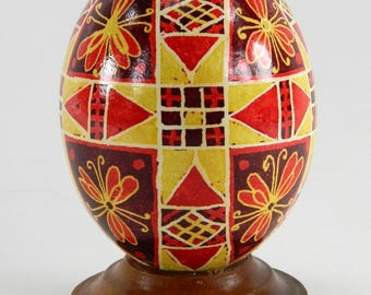 Polish Pysanky Egg Hand Painted Decorated Vintage Easter Blown Out Chicken Egg 20717