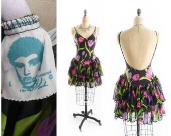 Vintage 80s Dress // 1980s Dress // Betsey Johnson Punk Label // Backless Dress // Ruffled Mini Dress - sz L