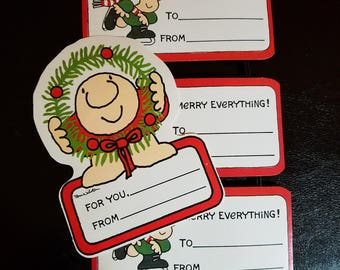 Four (4) Vintage Ziggy by Tom Wilson Christmas Gift Tags, Unused, Large, Free Shipping!