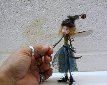 ooak poseable (red head )  little worker common PIXIE fairy ( #14 ) polymer clay art doll by DinkyDarlings   faerie faery angel
