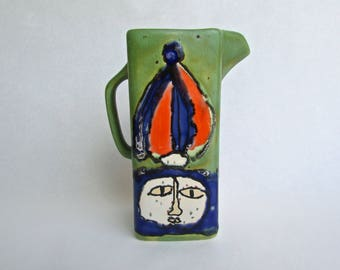 Ricardo Uribe Hand Painted Tall Pitcher, MCM Bogata, Colombia, Modern Decorative Ceramic Arts