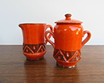 Ed-E-Langbein, Enesco, Italy, MCM Italian Pottery Sugar & Creamer in Brilliant Orange
