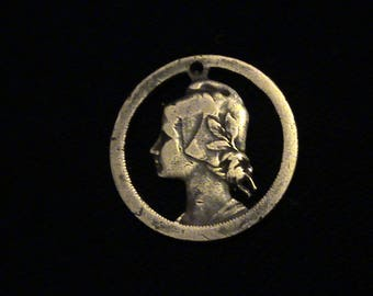 Portugal - cut coin pendant - Beautiful Girl - 1925