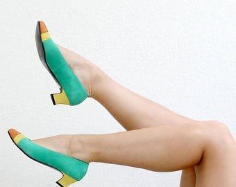 ANNIVERSARY SALE 1980s Vaneli Color Block Heels /// Size 5-1/2 to 6