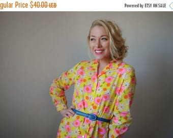 ANNIVERSARY SALE NOS~1960s Vibrant Floral Day Dress~Size Extra Small to Small