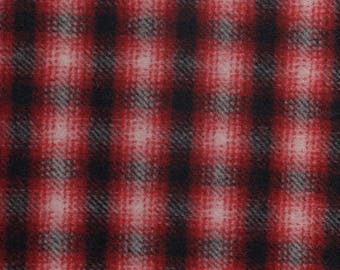 """WOOLRICH Black, Red, & White Ombre Plaid Wool Coating Fabric. 60"""" wide"""