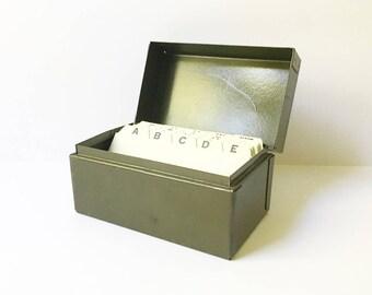 Metal file Box Recipe Box Card Holder Green Box Industrial Decor Office Decor