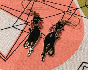 Vintage Siamese Cat Earrings Black Bow Tie Enamel