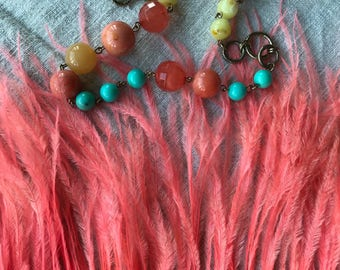 OSTRICH FRINGE , Flamingo Pink , Honeysuckle  / 327
