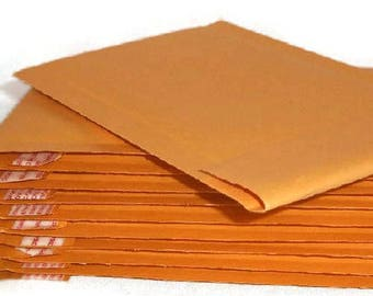 Bubble Mailer 50 pack - gold, size 000 or approx 4x8 - small, padded envelopes, shipping, mailing, shop supplies, self sealing, kraft paper